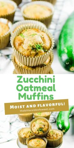 Easy Zucchini Oatmeal Muffins packed with shredded zucchini! Moist and flavorful with oats and zucchini. Perfect for hearty breakfast!   The Bitter Side of Sweet Delicious Breakfast Recipes, Savory Breakfast, Breakfast Burritos, Sweet Breakfast, Breakfast Ideas, Pancake Muffins, Oatmeal Muffins, Pancakes And Waffles, Sweet Recipes
