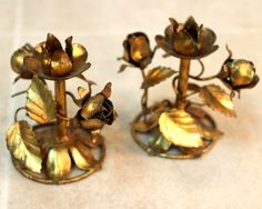 Gilt Tole Candle Holder Pair / Hollywood by ConceptFurnishings