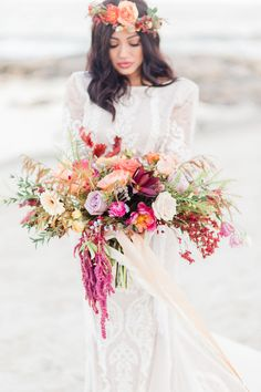 Bohemian Beach Wedding Bouquet: a whimsical unstructured fall bouquet filled with fall leaves in an autumn palette of oranges, warm neutrals and pops of jewel tones. wedding bouquet Romantic Bohemian Beach Wedding Ideas at Driftwood Beach Beach Wedding Tables, Bohemian Beach Wedding, Beach Wedding Bouquets, Beach Wedding Inspiration, Beach Wedding Decorations, Beach Wedding Invitations, Wedding Flowers, Aisle Decorations, Seaside Wedding