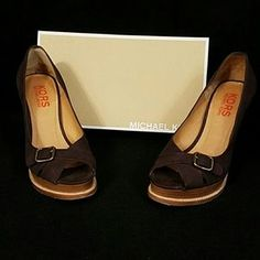 KORS Michael Kors Shoes - Kors Michael Kors Brown Suede Peep-toe Pumps sz 8