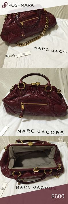 """🎉🎉vets day sale🎉🎉 Marc Jacobs rare Stam bag Stunning rare Bordeaux Marc Jacobs handbag. I received many compliments on the bag and I am sure you will too! The quilts are gorgeous and the Gold hardware is in perfect condition without scratches. Leather and inside of bag are hard to tell they have ever been used. This bag is truly a """"must-have""""!! Purchased at S5A at Phipps Atlanta. Marc Jacobs Bags Shoulder Bags"""