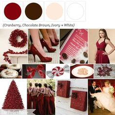favorite color palette: cranberry, chocolate brown, ivory, + white.