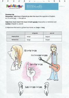 Descripciones nivel 1 de rockalingua.com.  Adjective Agreement