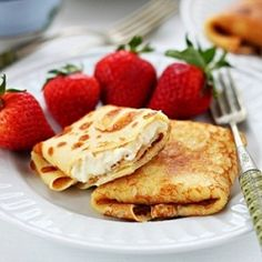 Ricotta and orange blintzes - thin crepes filled with sweet ricotta with a touch of orange
