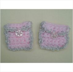 new hand knitted 2 x tooth fairy envelope bag pouch pink & silver trim - charity on eBid United Kingdom