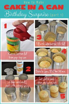 How to make cake in a can for mini cakes Cakes To Make, How To Make Cake, Köstliche Desserts, Delicious Desserts, Dessert Recipes, Yummy Food, Cake In A Can, Let Them Eat Cake, Cupcakes