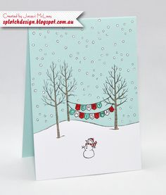 Splotch Design - Jacquii McLeay - Stampin Up - White Christmas Card