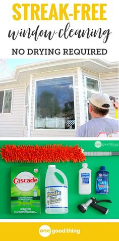This homemade window cleaner not only gets your windows squeaky clean, there's no squeegeeing or drying required! Just spray; wash; spray again and sit back and let Mother Nature take care of the rest! #diycleaners #cleaningtips #lifehacks #windowcleaning