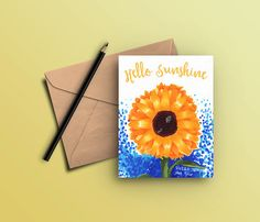 Sunflower Notecard Set Note Cards Sunflowers by DesignedByLaura