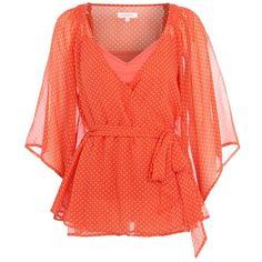 Orange star print kaftan (20 AUD) ❤ liked on Polyvore featuring tops, shirts, blouses, blusas, sale+women, women's clothing, matthew williamson, caftan tops, kaftan shirt and star print top