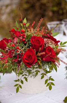 A brilliant red rose flower arrangement