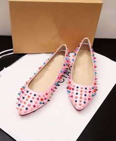Morpheus Boutique  - Pink Colorful Studded Leather Ballet Flats