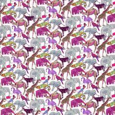 Liberty Fabric Queue for the Zoo Animals Pink Tana Lawn Half Yard