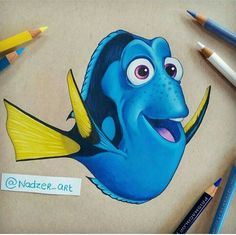Dory (Edits by Nadzer_Art Dory Drawing, Finding Dory, Pixar Movies, Color Pencil Art, Disney Cartoons, Disney Animation, Disney Art, Cartoon Art, Pencil Drawings