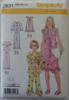 Sewing Pattern Simplicity 2831 - Child and Girls Nightgown, Pajamas and Slippers - Size 3, 4, 5, 6 - UNCUT