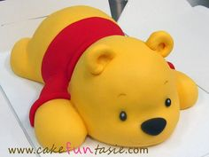 This is a good example of a very huggable cake. It was modeled after the birthday child's favourite toy of baby Pooh Bea. Winnie Pooh Torte, Winnie The Pooh Cake, Dog Cakes, Bear Cakes, Baby Shower Niño, Baby Shower Cakes, Fondant Flower Cake, Fondant Bow, Fondant Tutorial