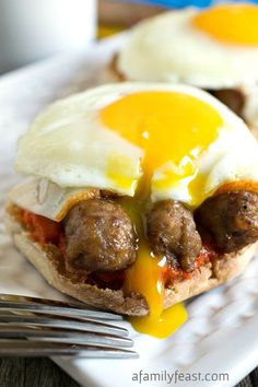 Our delicious Pepper Pig Breakfast Sandwich has sausage links on an English muffin smothered in a red pepper sauce with cheese.