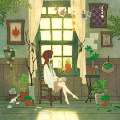 A Taurus is content to stay in their expertly decorated home and curl up with a good book. (astrologyforhipsters.tumblr) (Art: Sayaka Ouhito)