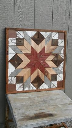 salvaged wood barn quilt block geometric by Illumi. salvaged wood barn quilt block geometric by IlluminativeHarvest Barn Quilt Designs, Barn Quilt Patterns, Quilting Designs, Block Patterns, Into The Woods, Painted Barn Quilts, Wooden Barn, Salvaged Wood, Wood Wood