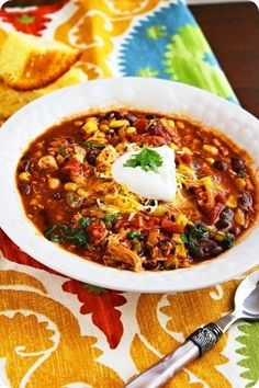 Crock Pot Taco Chicken Chili. Yummy dinner idea!
