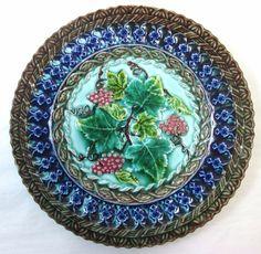 "19th C U&C Sarreguemines Majolica Plate Cobalt & Grape Design 7.75"" Book Piece"