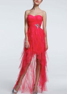Strapless Ruffle High Low Beaded Dress - David's Bridal