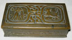 ANTIQUE TIFFANY STUDIOS BRONZE MISSION ARTS CRAFTS ZODIAC DESK COIN STAMP BOX