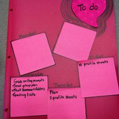 To do list on a folder- all my to-be-graded papers, etc. go inside
