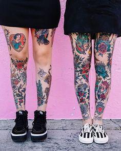 zephaniemonroe on IG. Tribal Tattoos, Leg Tattoos Women, Tattoos Skull, Back Tattoo Women, Celtic Tattoos, Wing Tattoos, Tatoos, Traditional Tattoo Leg Sleeve, Neo Traditional Tattoo