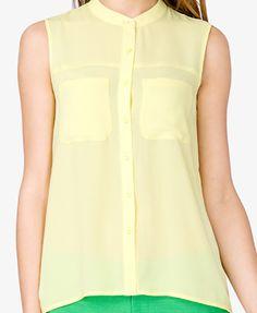 Flat Collar Chiffon Shirt   FOREVER21 - 2027706223