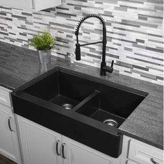 """Karran Quartz 34 """"X Doppelwaschbecken Farmhouse Kitchen Sink - Farmhouse Sink Signe Kitchen Sink Design, Farmhouse Sink Kitchen, New Kitchen, Kitchen Ideas, Kitchen Inspiration, Kitchen Designs, Black Farmhouse Sink, Kitchen Cabinets, Farmhouse Design"""