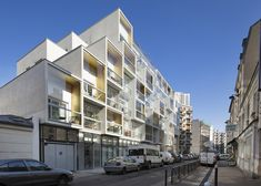 Apartments appear to be stacked up like boxes at this concrete housing block in Paris