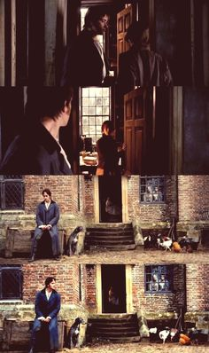 Pride and Prejudice the last scene. Mr. Darcy waits outside while Lizzy talks to her father.