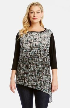 Karen+Kane+Contrast+Front+Asymmetrical+Hem+Top+(Plus+Size)+available+at+#Nordstrom