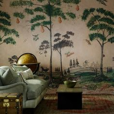 Mythical Land wallpaper from Andrew Martin and the Kit Kemp Collection is inspired by American folk art to create enchanting wall panels. Cool Wallpapers For Walls, Unique Wallpaper, New Wallpaper, Scenic Wallpaper, Feature Wallpaper, Nursery Wallpaper, Interior Wallpaper, Kitchen Wallpaper, Mad About The House