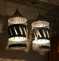 Lamps made from pull behind boat fish scalers found at the blog: Hogs and Roses