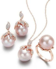 Pink Windsor Cultured Pearl and Diamond Jewelry Collection in 14k Rose Gold | macys.com #diamondjewelry