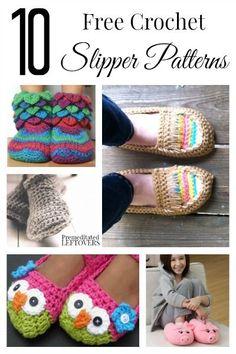 La búsqueda de patrones zapatilla de crochet libre?  Esta lista de 10 patrones libres del ganchillo del deslizador tiene algo para todos, desde niños a adultos!