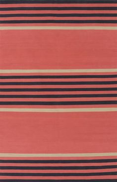Classic stripe Oxford rug in coral, black and light gray. Available from Surya (OXF-3002).