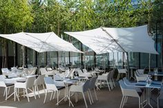 Spectra design umbrellas @ Hotel Privo in Romania #shade #design #garden #outdoor #Belgian #quality