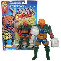 ToyBiz Year 1993 Marvel Comics The Uncanny X-Men X-Force Series 5 Inch Tall Action Figure - GRIZZLY with Arm Pounding Action, Hammers & Trading Card