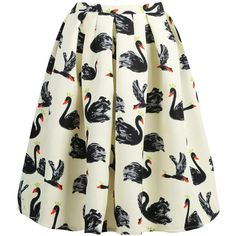 Swan Print Midi Skirt ($18) ❤ liked on Polyvore featuring skirts, bottoms, sheinside, swan, multicolor, knee length a line skirt, white midi skirt, midi skirt, a line midi skirt and print skirt