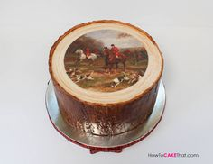 Equestrian English Fox Hunt theme Tree Stump cake tutorial!