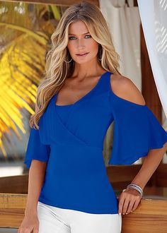 Blue Sheer cold shoulder top from VENUS. Sizes XS-XL!