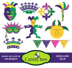 Welcome to Candy Bee Design Mardi Gras Clip Art, Mardi Gras Clipart, Digital Clip Art, Mardi Gras Mask Clipart, Digital Mardi Gras, Instant