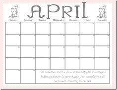 free printable april calendars