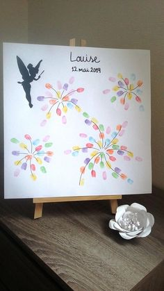 """arbre à empreintes """"fée clochette feux d'artifice """"avec 1 encreur 6 couleurs offert. mariage, baptême, anniversaire, baby-shower ..."""