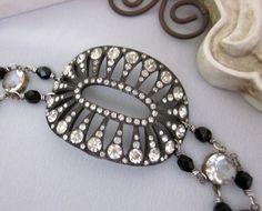 Vintage Art Deco Rhinestone Buckle Bracelet, Vintage Repurposed Bracelet, One of a Kind Designs - jryendesigns