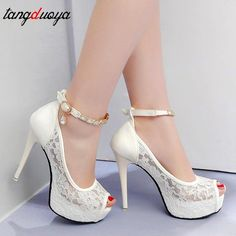 Cute lady high heel Spitze Hochzeitsschuhe Frau Peep - Kutshy Landscaping Tips: What Mulch to Use fo Rhinestone Wedding Shoes, Wedding Shoes Bride, Bride Shoes, Lace Wedding, Wedding Heals, Wedding Stuff, Wedding High Heels, Dream Wedding, Wedding Shit