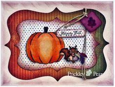 #pprstamps Love little Nutty all fussy cut on this card with the twine behind to add dimension. Stamps & Dies Used:  Nutty, Sm. - EE0170; Pumpkin Patch - CLR008; Pumpkin Die - PPRS-D008 http://www.prickleypear.com